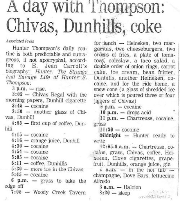 Hunter S. Thompson's daily routine