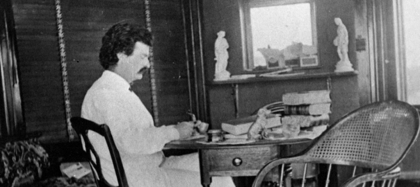 Mark Twain at his writing desk