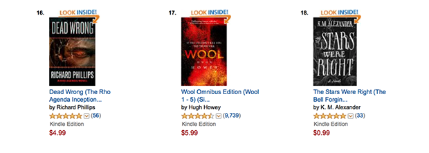 The Stars Were Right hanging next to Hugh Howey's Wool