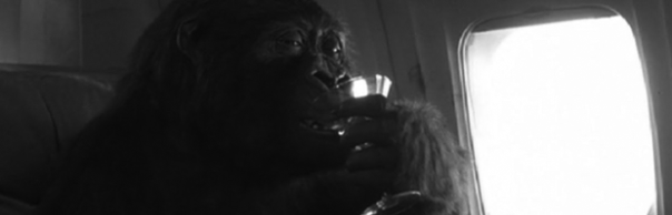 Yep, that's a gorilla drinking a martini. Thanks Hollywood.