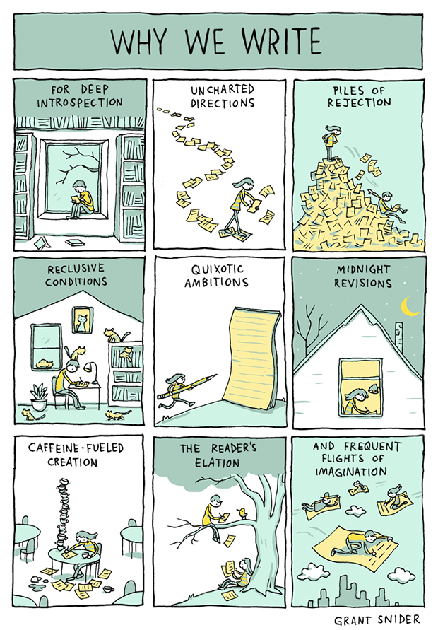"""Why We Write"" by Grant Snider"