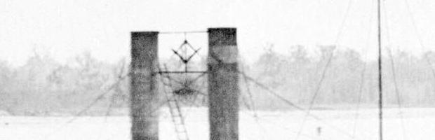 Masonic Symbol hanging between the stacks of the USS Baron Dekalb