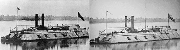 USS Carondelet (Left) and the USS Baron Dekalb (Right)