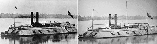 USS Carondelet (Left) and the USS Baron Dekalb (Right)