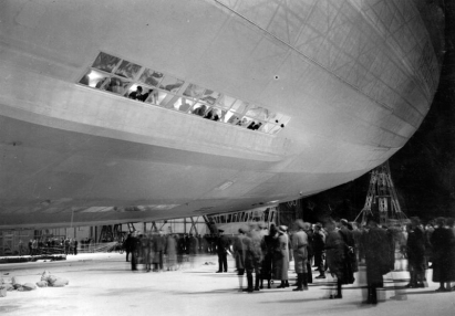 Passengers gathering outside the LZ 129 Hindenburg.