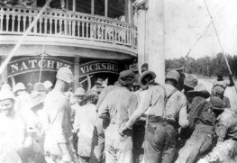 Crew gathers on the fo'c's'le of the Str. Natchez