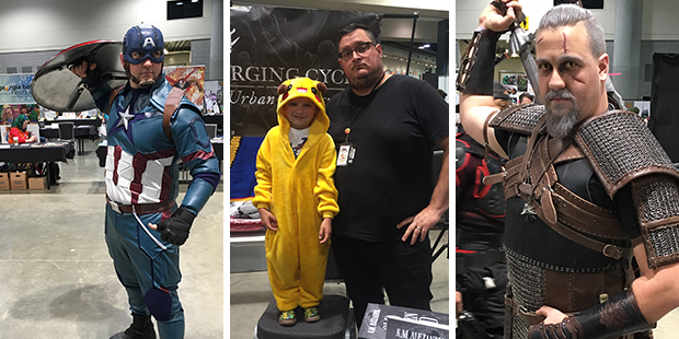 [Left] Captain America [Center] My nephew Derek as Pikachu and me as an author who only wears black [Right] Geralt of Rivia