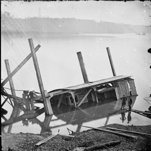 Butler's Dredge Boat, Sunk by a Confederate Shell on Thanksgiving Day, 1864 - James River, VA