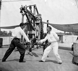 Fencing on the deck of the USS Hunchback