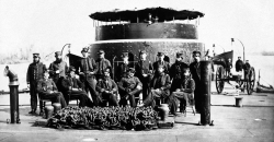 Officers on the upper deck of a Union monitor gunboat
