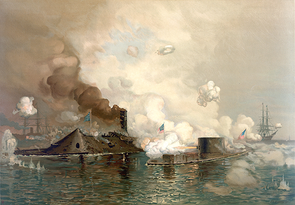 """The Monitor and Merrimac: The First Fight Between Ironclads"", a chromolithograph of the Battle of Hampton Roads, produced by Louis Prang & Co., Boston"