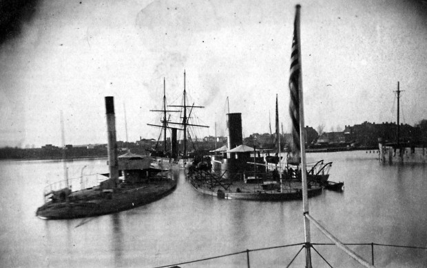 The monitors USS Chimo and USS Tonawanda [Foreground] and the ex-CSS Stonewall [Background] moored off the Washington Navy Yard, Washington, D.C.