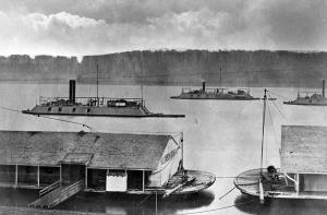 The gunboats USS De Kalb and USS Cincinnati outside Mound City, IL