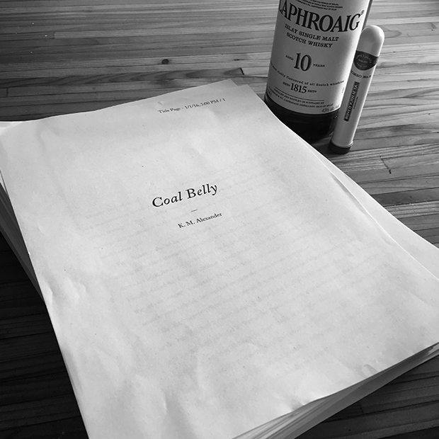 Coal Belly, Draft Zero, along side pre-manuscript ritual islay scotch and a cigar.