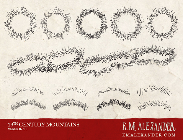 Sample of my 19th Century Mountains brushes in use.