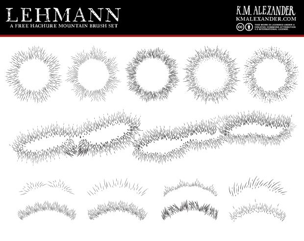 Lehmann a hachure brush set designed for Adobe Illustrator by K. M. Alexander