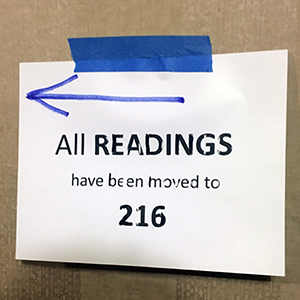 Readings moved to 216