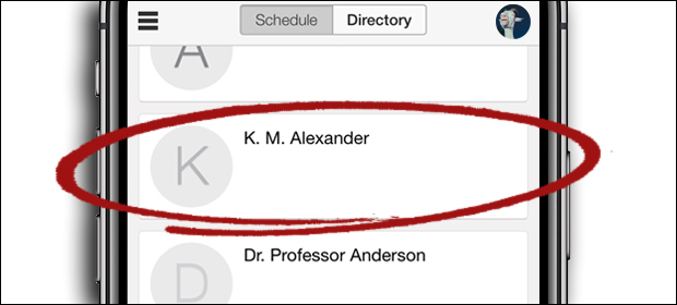 """To find me: first, tap the Menu, tap """"Speakers,"""" scroll until you see """"K.M. Alexander"""" then tap on my name. Hooray!"""