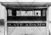 "Pilothouse of the Str. Kate Adams, also know as ""The Lovin' Kate."""