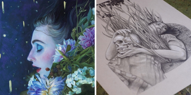 "Kari-Lise Alexander [Left] ""Summer Dream"" 10″x10″, Oil on Panel [Right] ""Alone Amongst the Irises"" in the studio"
