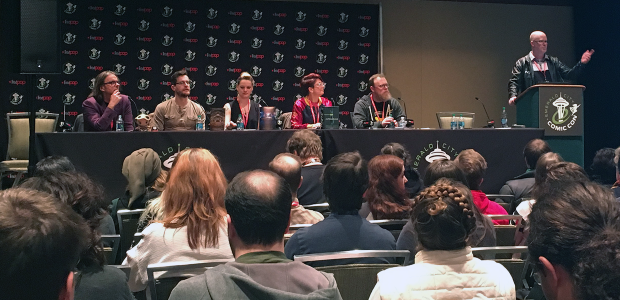 Writing the Future Panel - [Left to Right] Sylvain Neuvel, Michael Miller, AdriAnne Strickland, Annalee Newitz, Chuck Wendig, Jason Hough