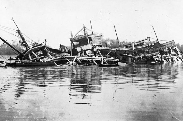 The ragged remains of the submerged Columbia.