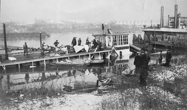 Men inspect the wreck of the Steamboat Monitor - 2 of 2
