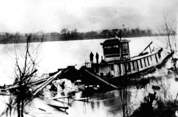 The wreck of the steamer Tell City on the Ohio River, 1917