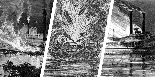 In the 1800s photographic equipment wasn't standard. In place of photographs, many riverboat disasters were depicted by drawings of etchings. Left to Right: Str. Robert E. Lee, 1882, Str. Benjamin Franklin, 1836, Str. Sultana, 1865.