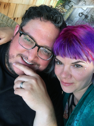 This is what an author and a painter look like after 15 years of being married.