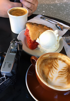 Strawberry-rhubarb pie and coffee at Hillbottom Pie—it was phenomenal. (Photo by Kari-Lise.)