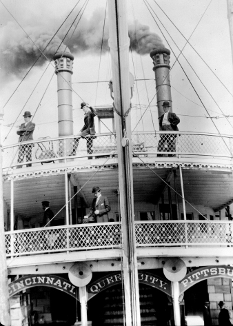 Bow photo showing passengers on the upper decks of the Str. Queen City