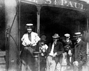 Close-up of passengers on the bow of the Dubuque