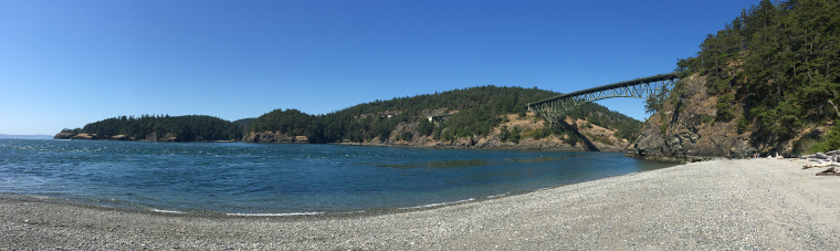 Deception Pass viewed from Macs Cove on the north side of Whidbey Island