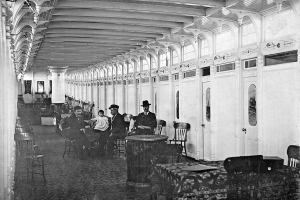 Interior main cabin; Captain Charles Dobler is the tall man with the hat