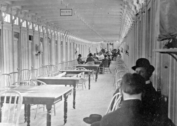 The saloon of the Str. Dubuque with passengers