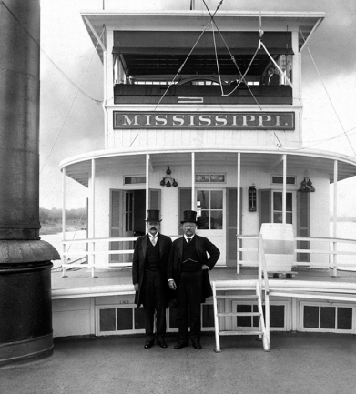 Teddy Roosevelt onboard the Hurricane Deck of the Str. Mississippi