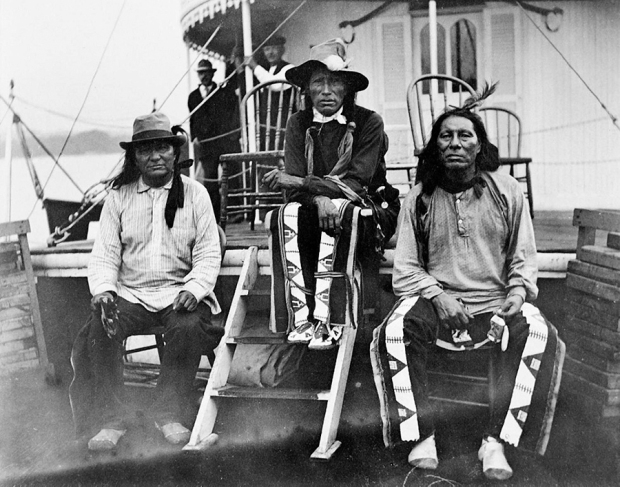 Native Americans aboard the hurricane deck of the Str. Quincy—probably wild west show riders since Native Americans were generally confined to deck passage