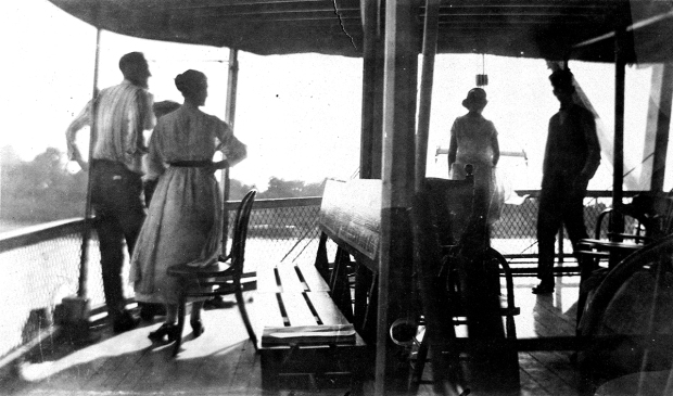 On the river, interior view of passengers on deck of the Str. Alabama (1923)