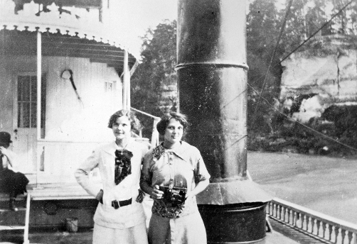 Two passengers on hurricane deck of the Str. American