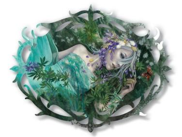 "Redd Walitzki — ""A Dream of Seven Flowers"" 2018, Oils over Mixed Media on Lasercut Acrylic Panel"