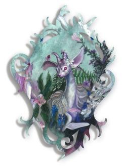 "Redd Walitzki — ""Creature of Possibility"" 2018, Oils over Mixed Media on Lasercut Acrylic Panel"