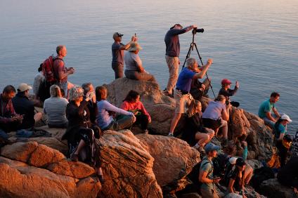 Sunset hunters near Bass Harbor Head Lighthouse (Photo by Kari-Lise)