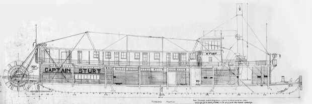 Detail of the blueprints of the 1912 towboat Captain Stuart.