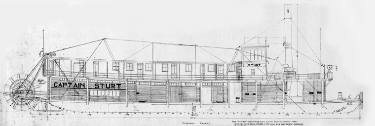 Detail of the blueprints of the 1912 towboat Captain Stuart.