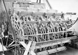 Repairs underway on the sternwheel of the Str. James Y. Lockwood