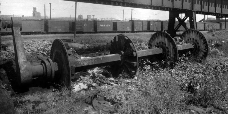 Wheel shaft of a steamboat's paddlewheel