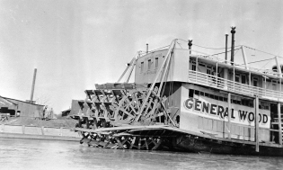 Stern view and paddlewheel of the General Wood