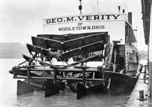 """The paddlewheel of the steamer George M. Verity featuring very distinctive """"helical/herringbone/V-shaped"""" paddlewheel designed to reduce vibration. Reportedly, they also limited backing and stopping abilities."""