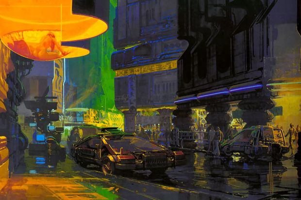 """Syd Mead - """"Downtown Cityscape"""""""
